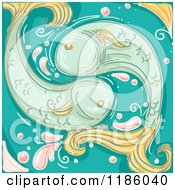 Cartoon Of A Fish Pisces Horoscope Zodiac Background Royalty Free Vector Clipart by BNP Design Studio