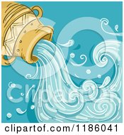 Cartoon Of A Water Jar Aquarius Horoscope Zodiac Background Royalty Free Vector Clipart