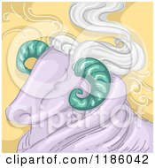 Cartoon Of A Ram Aries Horoscope Zodiac Background Royalty Free Vector Clipart by BNP Design Studio