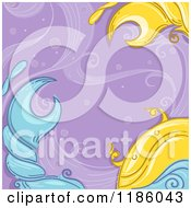 Cartoon Of A Crab Cancer Horoscope Zodiac Background Royalty Free Vector Clipart by BNP Design Studio