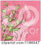 Cartoon Of A Feather And Leaf Virgo Horoscope Zodiac Background Royalty Free Vector Clipart by BNP Design Studio