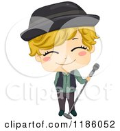 Cartoon Of A Pop Star Boy With A Microphone Stand Royalty Free Vector Clipart