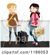 Cartoon Of A Traveling Women With Luggage And Winter Clothes On An Airport Walkalator Royalty Free Vector Clipart