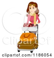 Cartoon Of A Happy Woman Pushing An Airport Baggage Cart Royalty Free Vector Clipart