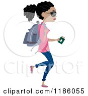 Cartoon Of A Young Black Woman Carrying A Passport And A Backpack Royalty Free Vector Clipart