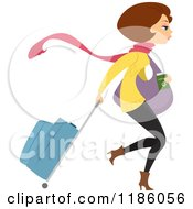 Cartoon Of A Brunette Winter Clad Woman With Rolling Luggage Royalty Free Vector Clipart
