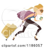 Cartoon Of A Late Blond Woman Running With Her Luggage And Passport In Hand Royalty Free Vector Clipart