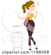 Cartoon Of A Conused Woman With Missing Luggage Royalty Free Vector Clipart