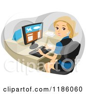 Cartoon Of A Happy Blond Woman Working At An Airport Check In Counter Royalty Free Vector Clipart