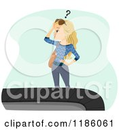 Cartoon Of A Blond Woman Wondering Where Her Suitcase Is At The Baggage Claim Carousel Royalty Free Vector Clipart by BNP Design Studio