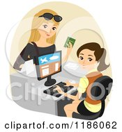 Cartoon Of A Female Traveler Checking In At An Airport Royalty Free Vector Clipart