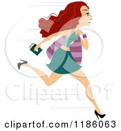 Cartoon Of A Late Woman Running With Her Passport In Hand Royalty Free Vector Clipart