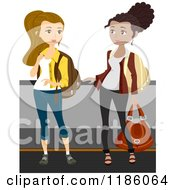 Cartoon Of A Traveling Women With Luggage On An Airport Walkalator Royalty Free Vector Clipart