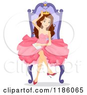 Cartoon Of A Happy Prom Queen Sitting On The Throne Royalty Free Vector Clipart