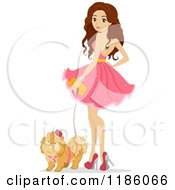 Cartoon Of A Teen Girl In A Pink Dress Standing With Her Dog Royalty Free Vector Clipart by BNP Design Studio