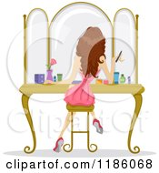 Cartoon Of A Rear View Of A Girl Sitting At A Vanity And Getting Ready For Prom Night Royalty Free Vector Clipart