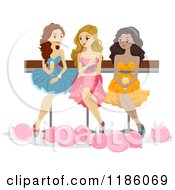 Cartoon Of A Trio Of Prom Girls Sitting With Drinks Royalty Free Vector Clipart