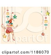Cartoon Of A Background With Toys And A Puppet Royalty Free Vector Clipart