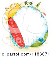Cartoon Of A Surfboard And Cloud Frame With A Sun And Sailboat Over Earth Royalty Free Vector Clipart