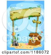 Cartoon Of A Wooden Sign Underwater With Sunken Treasure And Fish Royalty Free Vector Clipart