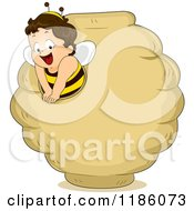 Cartoon Of A Happy Toddler Boy In A Bee Costume Emerging From A Bee Hive Royalty Free Vector Clipart