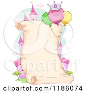 Cartoon Of A Princess Themeed Party Parchment Scroll With Copyspace Royalty Free Vector Clipart