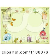 Cartoon Of A Green Background Framed In Doodled Birds Royalty Free Vector Clipart