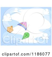 Cartoon Of A Cloud Frame With Flying Kites Royalty Free Vector Clipart by BNP Design Studio