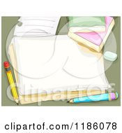 Cartoon Of A Piece Of Paper With Pencils And An Eraser Royalty Free Vector Clipart