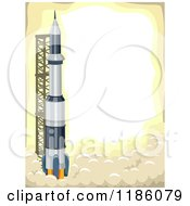 Cartoon Of A Launching Rocket With Copyspace On Yellow Royalty Free Vector Clipart
