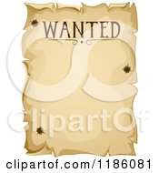 Cartoon Of A Vintage Wanted Sign With Bullet Holes Royalty Free Vector Clipart by BNP Design Studio