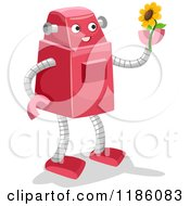 Cartoon Of A Happy Robot Holding Up A Sunflower Royalty Free Vector Clipart by BNP Design Studio