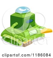 Cartoon Of A Green Cleaning Robot Royalty Free Vector Clipart