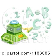 Cartoon Of A Green Bubble Making Robot With Letter And Number Bubbles Royalty Free Vector Clipart