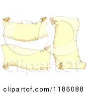 Cartoon Of Aged Yellow Scrolls Royalty Free Vector Clipart