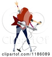 Cartoon Of A Rear View Of A Female Rock Star With A Guitar And Microphone Royalty Free Vector Clipart