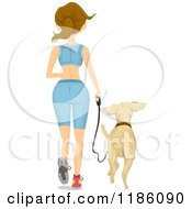 Cartoon Of A Rear View Of A Fit Woman Jogging With A Dog Royalty Free Vector Clipart
