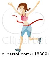 Cartoon Of A Marathon Runner Breaking Through The Finish Line Royalty Free Vector Clipart