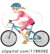 Cartoon Of A Fit Cyclist Woman Royalty Free Vector Clipart by BNP Design Studio