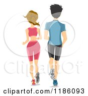 Rear View Of A Fit Couple Running