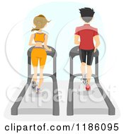 Cartoon Of A Rear View Of A Fit Couple Running On Gym Treadmills Royalty Free Vector Clipart