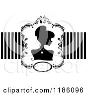 Cartoon Of A Silhouetted Woman Framed Over Stripes Royalty Free Vector Clipart