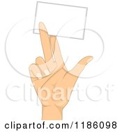 Cartoon Of A Hand Holding Up A Blank Business Card Royalty Free Vector Clipart