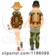 Cartoon Of A Rear View Of A Hiking Couple Holding Hands Royalty Free Vector Clipart