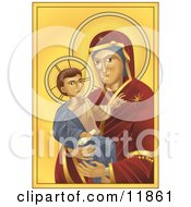 Virgin Mary Madonna Holding Baby Jesus Clipart Illustration