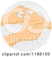Cartoon Of A Man Placing A Diamond Ring On A Womans Finger Over Gray Royalty Free Vector Clipart by BNP Design Studio