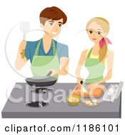 Cartoon Of A Happy Couple Cooking In A Kitchen Royalty Free Vector Clipart