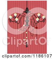 Cartoon Of A Fancy Chandelier Over Red Striped Wallpaper Royalty Free Vector Clipart