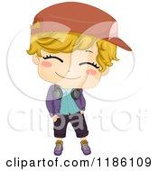 Cartoon Of A Happy Hip Hop Dancer Boy With Headphones Around His Neck Royalty Free Vector Clipart