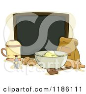 Cartoon Of A Blank Chalk Board Surrounded By Baking Ingredients Royalty Free Vector Clipart